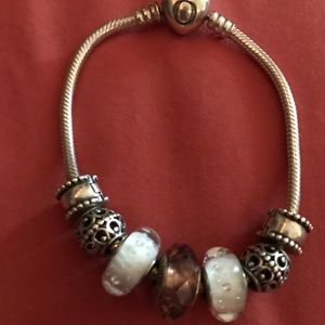19cm Pandora bracelet with heart clasp and charms